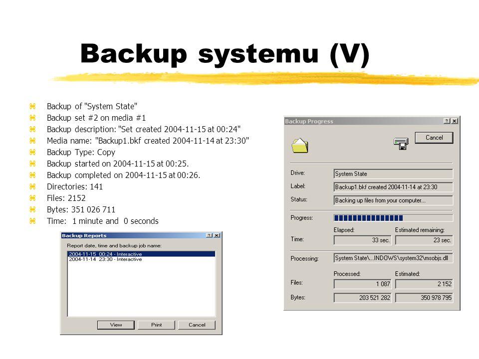 Backup systemu (V) zBackup of