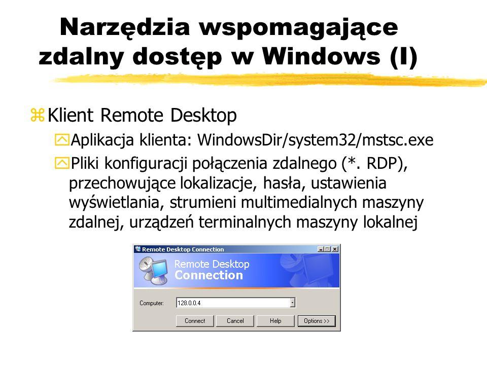 Narzędzia wspomagające zdalny dostęp w Windows (I) zKlient Remote Desktop yAplikacja klienta: WindowsDir/system32/mstsc.exe yPliki konfiguracji połącz