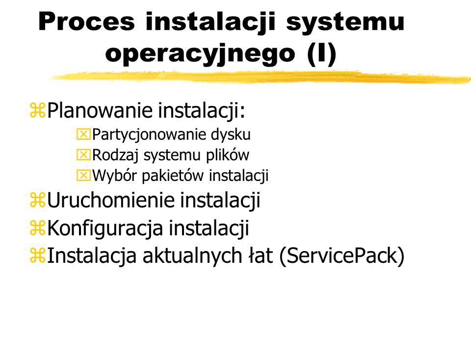 Proces instalacji systemu operacyjnego (I) zPlanowanie instalacji: xPartycjonowanie dysku xRodzaj systemu plików xWybór pakietów instalacji zUruchomie
