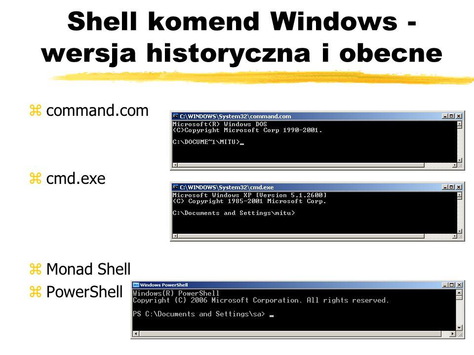 Shell komend Windows - wersja historyczna i obecne zcommand.com zcmd.exe zMonad Shell zPowerShell