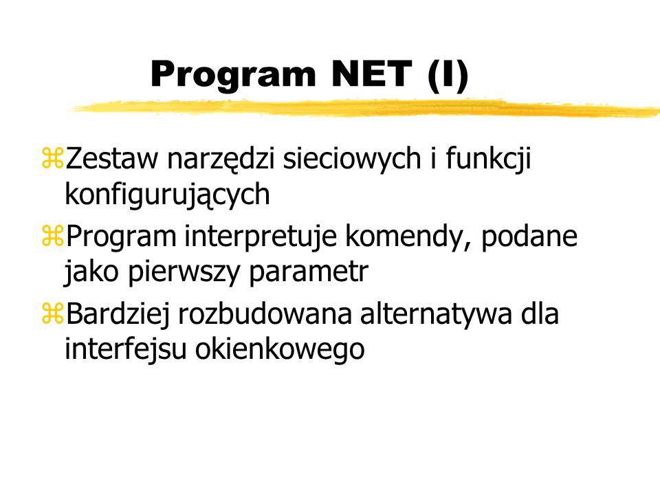 Program NET (I) zZestaw narzędzi sieciowych i funkcji konfigurujących zProgram interpretuje komendy, podane jako pierwszy parametr zBardziej rozbudowa