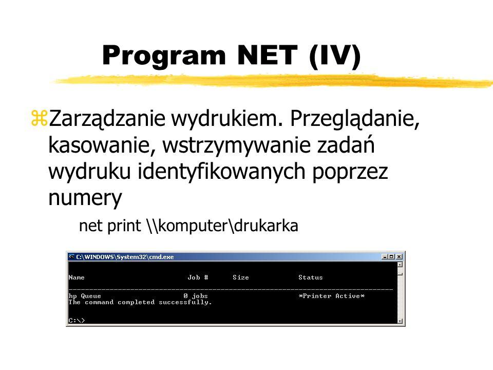 Program NET (IV) zZarządzanie wydrukiem. Przeglądanie, kasowanie, wstrzymywanie zadań wydruku identyfikowanych poprzez numery net print \\komputer\dru
