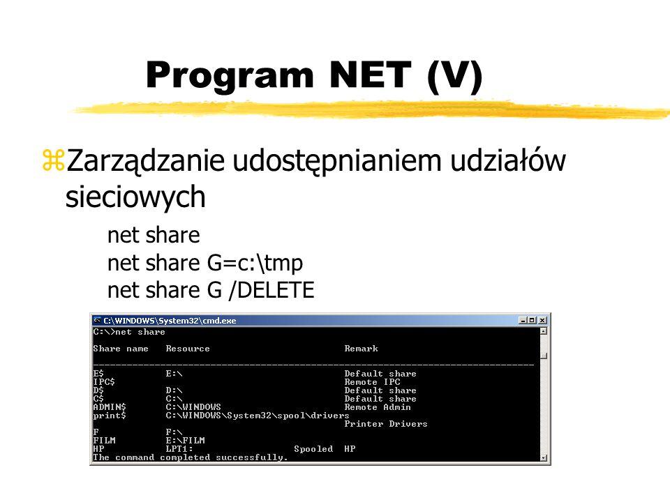 Program NET (V) zZarządzanie udostępnianiem udziałów sieciowych net share net share G=c:\tmp net share G /DELETE