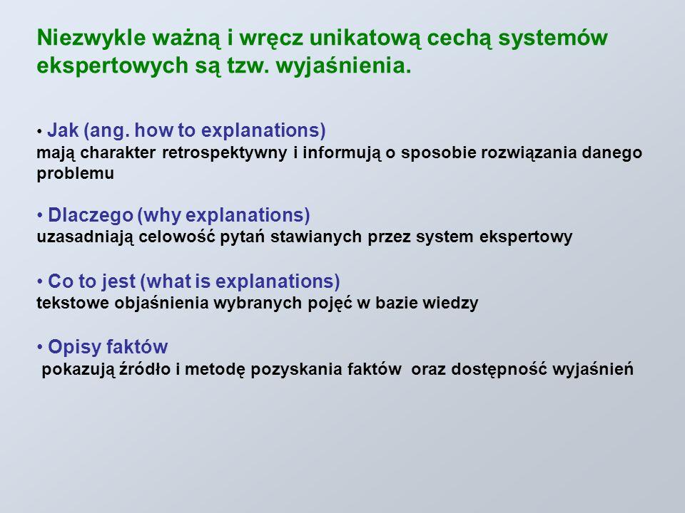 Niezwykle ważną i wręcz unikatową cechą systemów ekspertowych są tzw. wyjaśnienia. Jak (ang. how to explanations) mają charakter retrospektywny i info