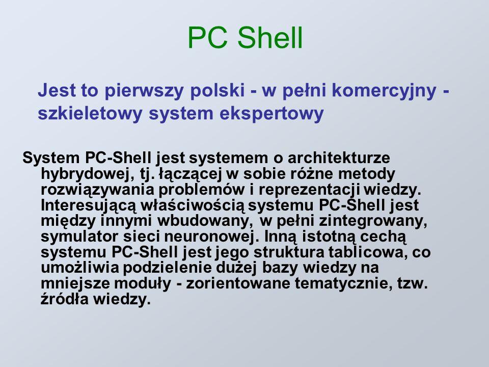 PC Shell Jest to pierwszy polski - w pełni komercyjny - szkieletowy system ekspertowy System PC-Shell jest systemem o architekturze hybrydowej, tj. łą