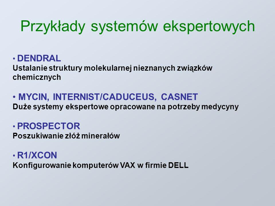 Przykłady systemów ekspertowych DENDRAL Ustalanie struktury molekularnej nieznanych związków chemicznych MYCIN, INTERNIST/CADUCEUS, CASNET Duże systemy ekspertowe opracowane na potrzeby medycyny PROSPECTOR Poszukiwanie złóż minerałów R1/XCON Konfigurowanie komputerów VAX w firmie DELL