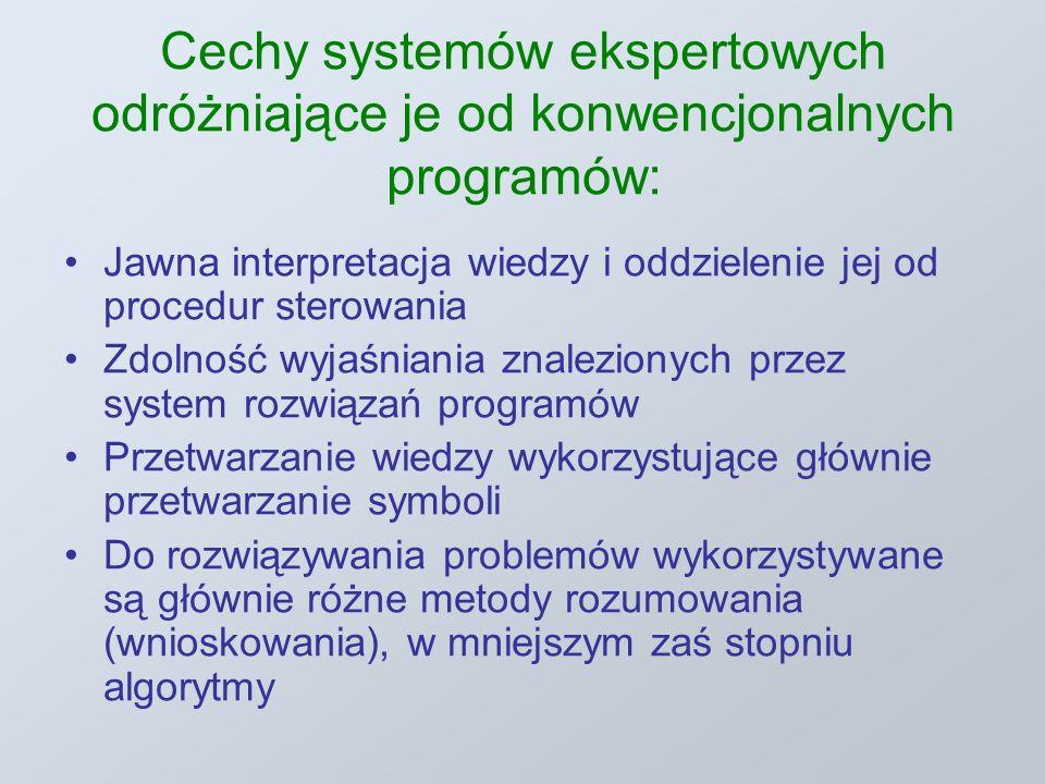 Cechy systemów ekspertowych odróżniające je od konwencjonalnych programów: Jawna interpretacja wiedzy i oddzielenie jej od procedur sterowania Zdolność wyjaśniania znalezionych przez system rozwiązań programów Przetwarzanie wiedzy wykorzystujące głównie przetwarzanie symboli Do rozwiązywania problemów wykorzystywane są głównie różne metody rozumowania (wnioskowania), w mniejszym zaś stopniu algorytmy