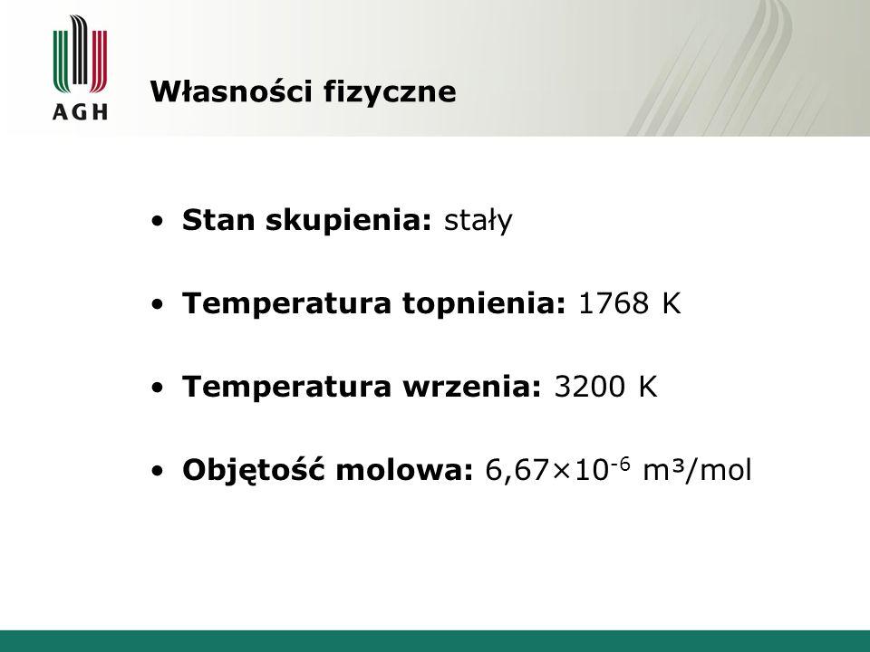 Własności fizyczne Stan skupienia: stały Temperatura topnienia: 1768 K Temperatura wrzenia: 3200 K Objętość molowa: 6,67×10 -6 m³/mol