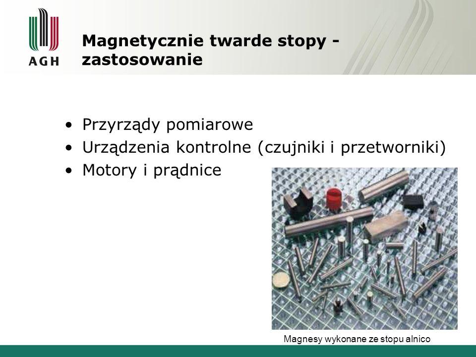 Magnetycznie twarde stopy - zastosowanie Przyrządy pomiarowe Urządzenia kontrolne (czujniki i przetworniki) Motory i prądnice Magnesy wykonane ze stop
