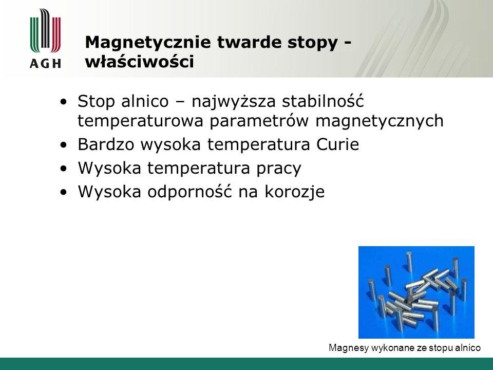 Magnetycznie twarde stopy - właściwości Stop alnico – najwyższa stabilność temperaturowa parametrów magnetycznych Bardzo wysoka temperatura Curie Wyso