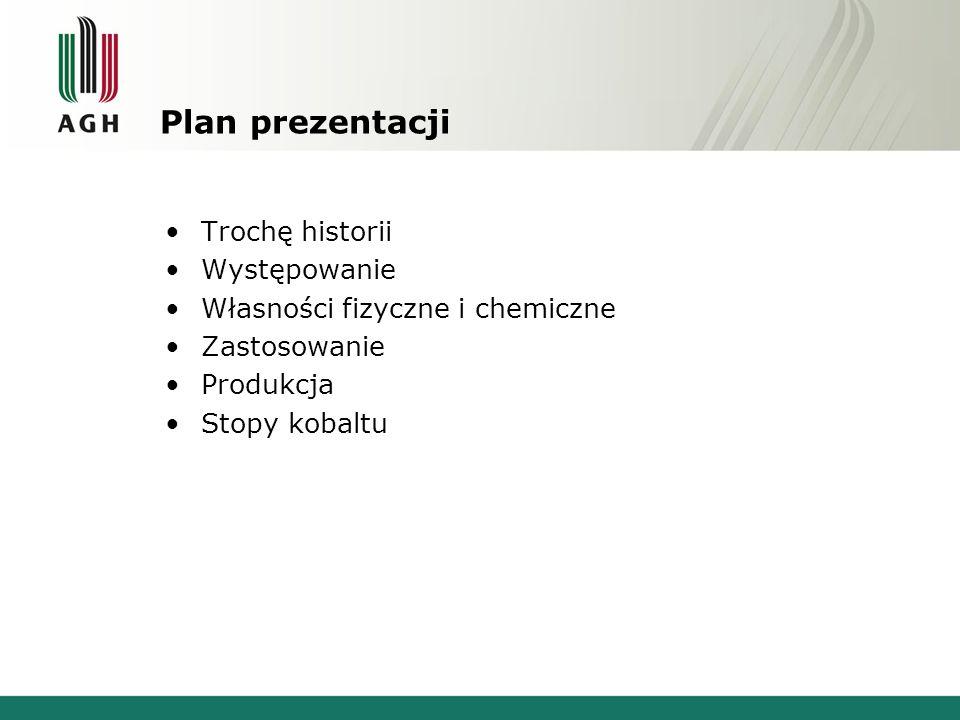 Plan prezentacji Trochę historii Występowanie Własności fizyczne i chemiczne Zastosowanie Produkcja Stopy kobaltu