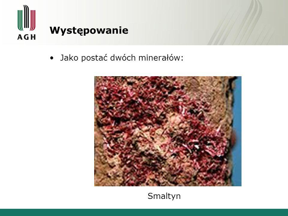 Występowanie Jako postać dwóch minerałów: Smaltyn
