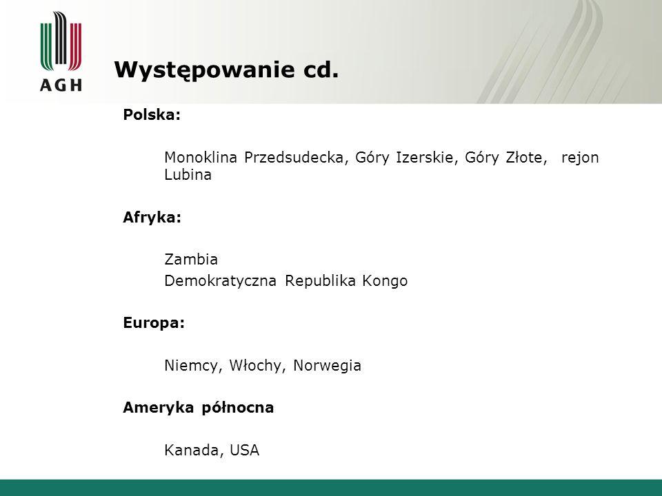 Występowanie cd. Polska: Monoklina Przedsudecka, Góry Izerskie, Góry Złote, rejon Lubina Afryka: Zambia Demokratyczna Republika Kongo Europa: Niemcy,