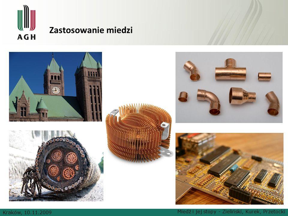 Zastosowanie miedzi Kraków, 10.11.2009 Miedź i jej stopy - Zieliński, Kurek, Przetocki