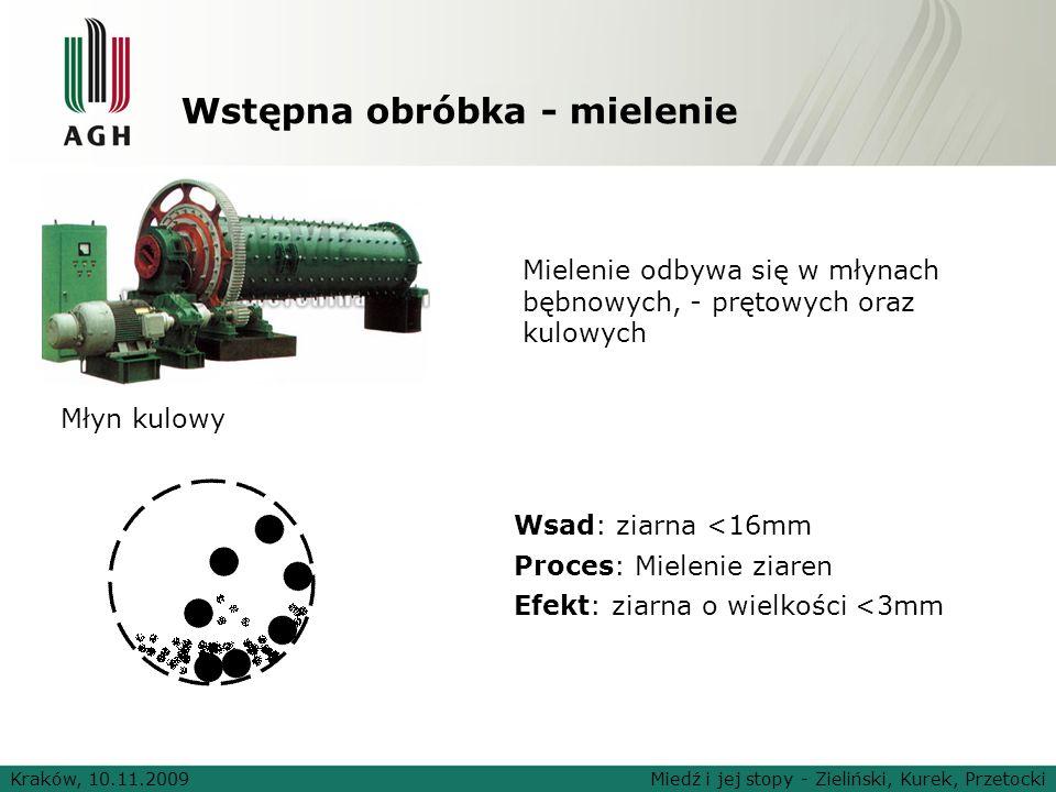 Wstępna obróbka - mielenie Wsad: ziarna <16mm Proces: Mielenie ziaren Efekt: ziarna o wielkości <3mm Kraków, 10.11.2009Miedź i jej stopy - Zieliński,