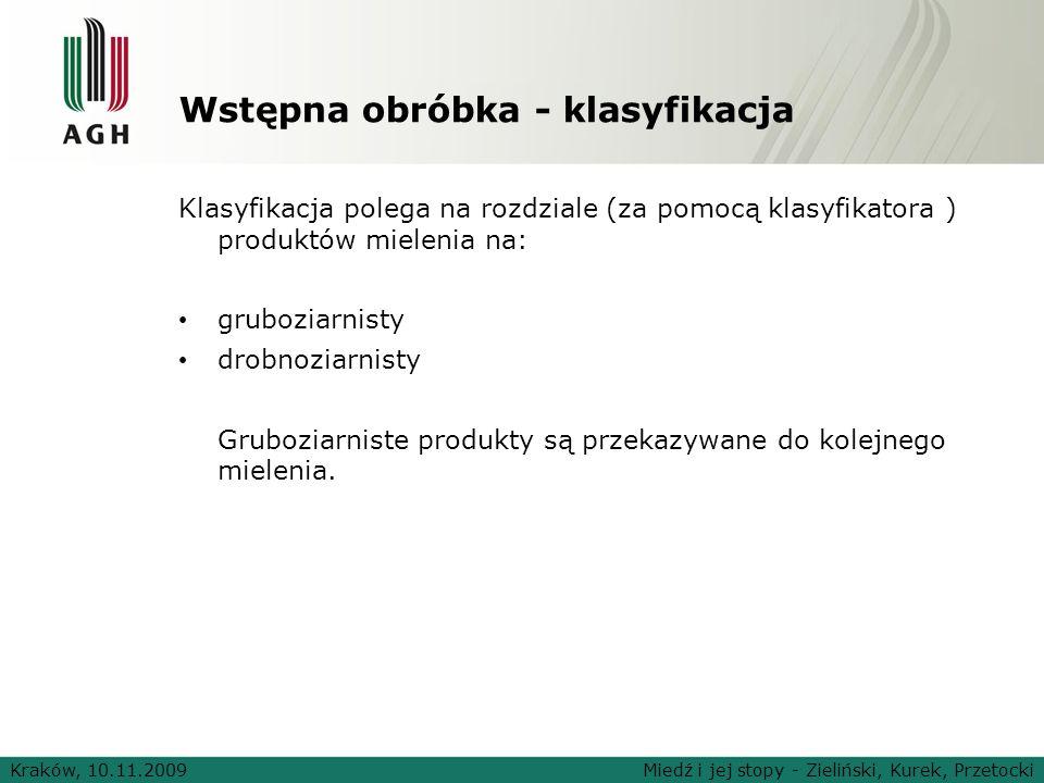 Wstępna obróbka - klasyfikacja Klasyfikacja polega na rozdziale (za pomocą klasyfikatora ) produktów mielenia na: gruboziarnisty drobnoziarnisty Grubo