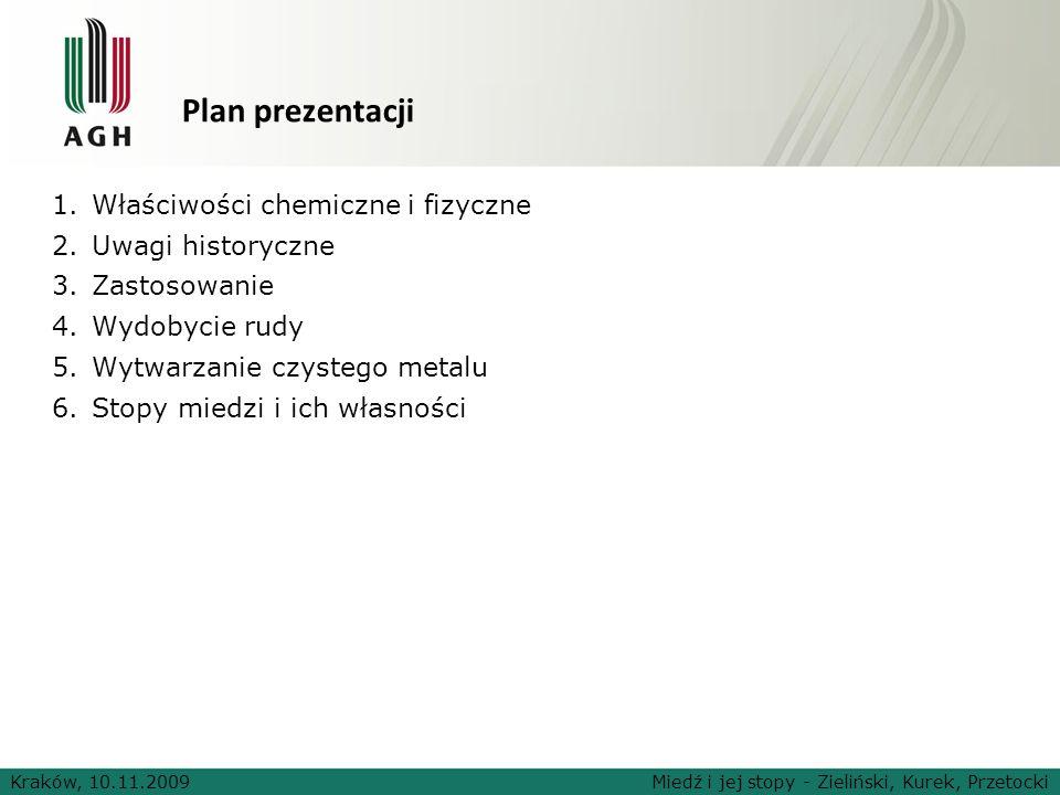Kraków, 10.11.2009Miedź i jej stopy - Zieliński, Kurek, Przetocki Plan prezentacji 1.Właściwości chemiczne i fizyczne 2.Uwagi historyczne 3.Zastosowan