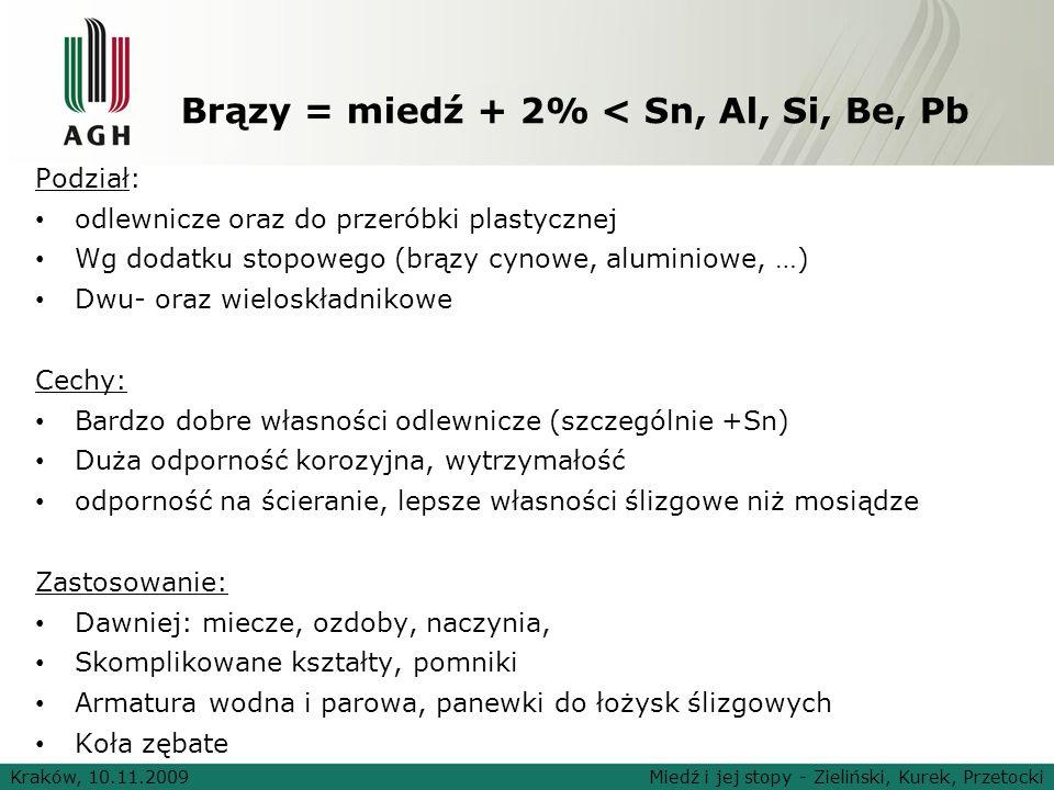 Brązy = miedź + 2% < Sn, Al, Si, Be, Pb Podział: odlewnicze oraz do przeróbki plastycznej Wg dodatku stopowego (brązy cynowe, aluminiowe, …) Dwu- oraz