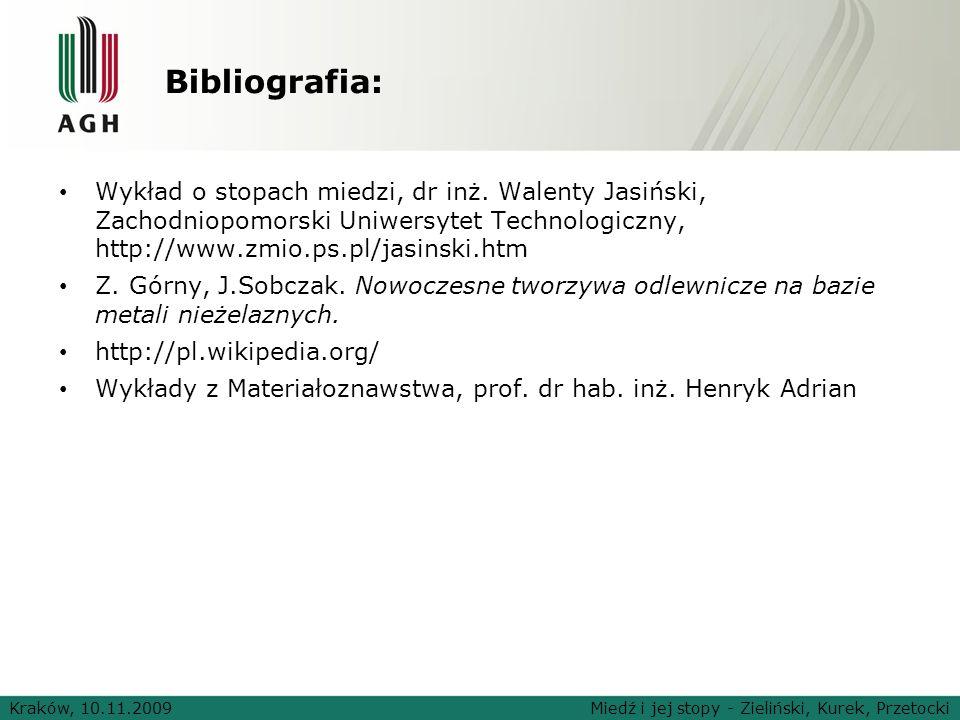 Kraków, 10.11.2009Miedź i jej stopy - Zieliński, Kurek, Przetocki Bibliografia: Wykład o stopach miedzi, dr inż. Walenty Jasiński, Zachodniopomorski U