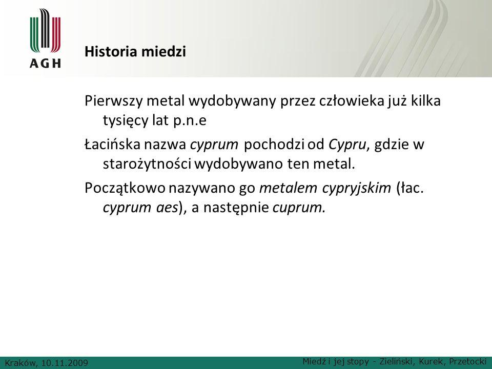 Historia miedzi Pierwszy metal wydobywany przez człowieka już kilka tysięcy lat p.n.e Łacińska nazwa cyprum pochodzi od Cypru, gdzie w starożytności w