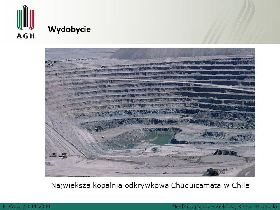 Wydobycie Kraków, 10.11.2009Miedź i jej stopy - Zieliński, Kurek, Przetocki Największa kopalnia odkrywkowa Chuquicamata w Chile