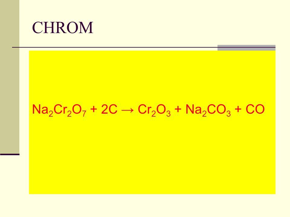 CHROM Na 2 Cr 2 O 7 + 2C Cr 2 O 3 + Na 2 CO 3 + CO