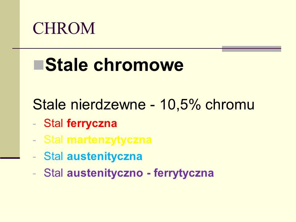 CHROM Stale chromowe Stale nierdzewne - 10,5% chromu - Stal ferryczna - Stal martenzytyczna - Stal austenityczna - Stal austenityczno - ferrytyczna