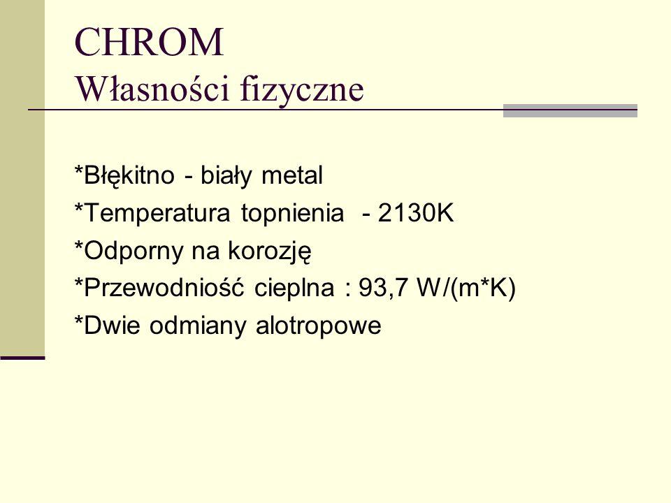 *Błękitno - biały metal *Temperatura topnienia - 2130K *Odporny na korozję *Przewodniość cieplna : 93,7 W/(m*K) *Dwie odmiany alotropowe