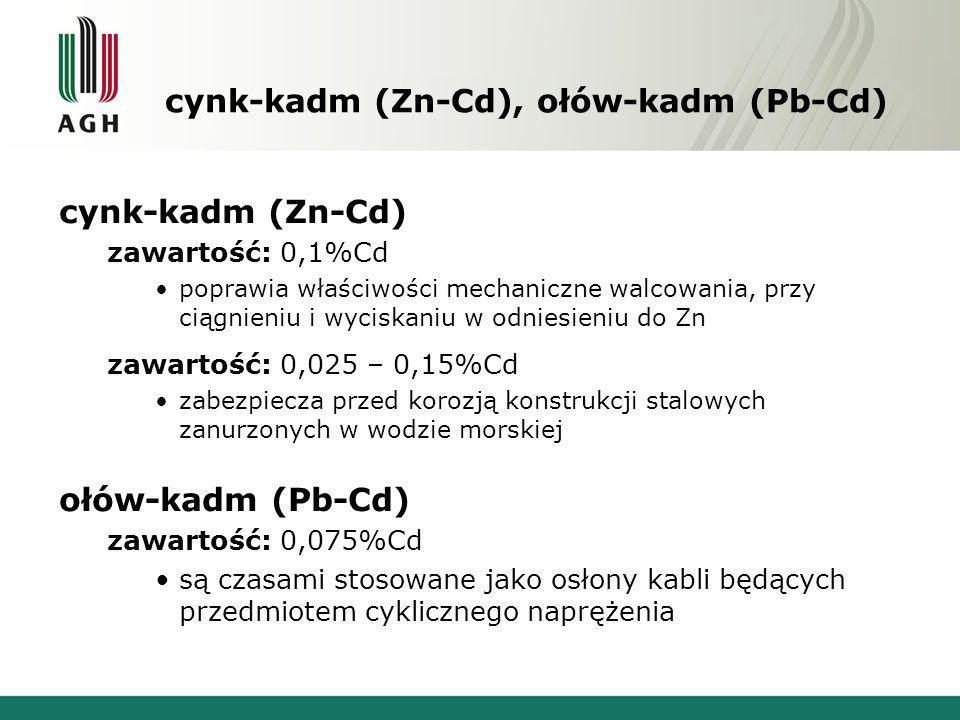 cynk-kadm (Zn-Cd), ołów-kadm (Pb-Cd) cynk-kadm (Zn-Cd) zawartość: 0,1%Cd poprawia właściwości mechaniczne walcowania, przy ciągnieniu i wyciskaniu w o