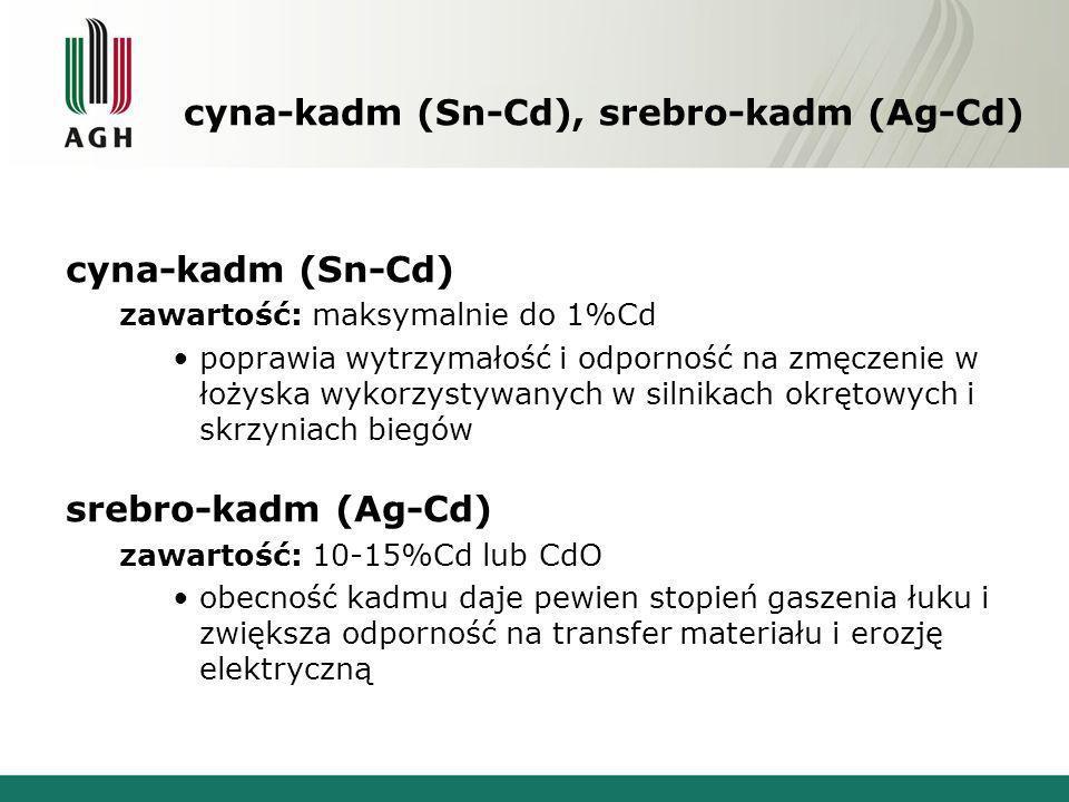 cyna-kadm (Sn-Cd), srebro-kadm (Ag-Cd) cyna-kadm (Sn-Cd) zawartość: maksymalnie do 1%Cd poprawia wytrzymałość i odporność na zmęczenie w łożyska wykor