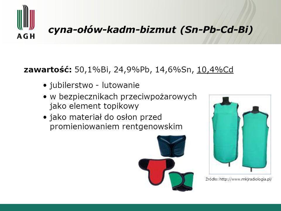 cyna-ołów-kadm-bizmut (Sn-Pb-Cd-Bi) zawartość: 50,1%Bi, 24,9%Pb, 14,6%Sn, 10,4%Cd jubilerstwo - lutowanie w bezpiecznikach przeciwpożarowych jako elem