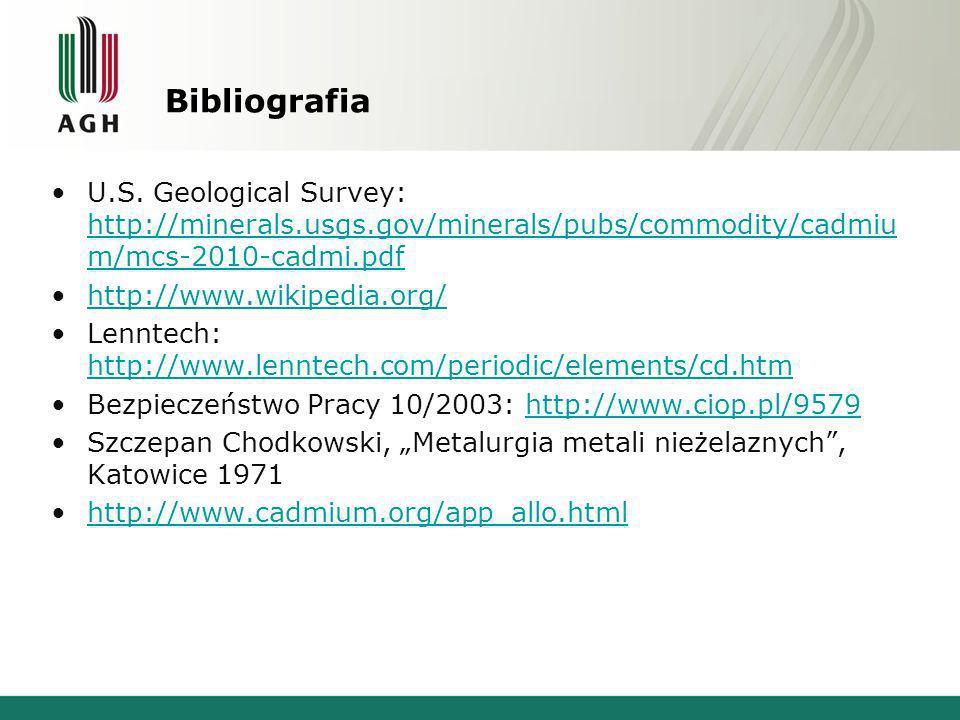 Bibliografia U.S. Geological Survey: http://minerals.usgs.gov/minerals/pubs/commodity/cadmiu m/mcs-2010-cadmi.pdf http://minerals.usgs.gov/minerals/pu