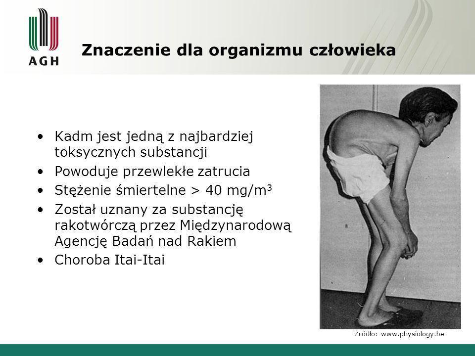 Znaczenie dla organizmu człowieka Kadm jest jedną z najbardziej toksycznych substancji Powoduje przewlekłe zatrucia Stężenie śmiertelne > 40 mg/m 3 Zo