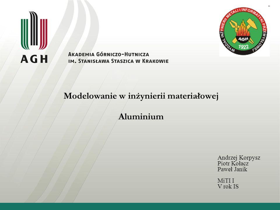 Modelowanie w inżynierii materiałowej Aluminium Andrzej Korpysz Piotr Kołacz Paweł Janik MiTI I V rok IS