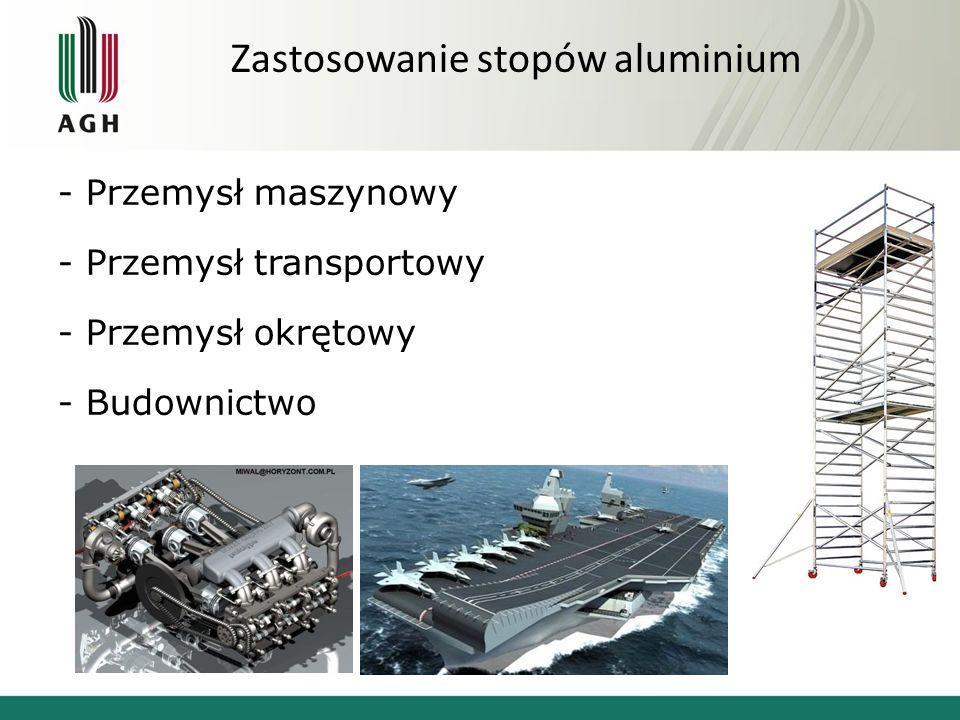 Zastosowanie stopów aluminium - Przemysł maszynowy - Przemysł transportowy - Przemysł okrętowy - Budownictwo