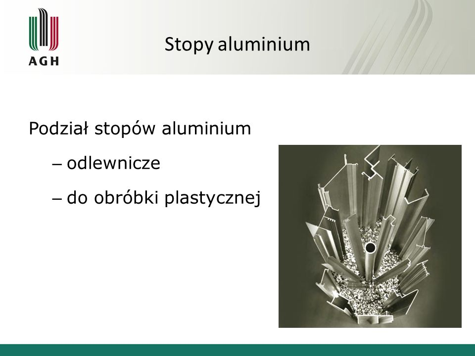 Stopy aluminium Podział stopów aluminium – odlewnicze – do obróbki plastycznej