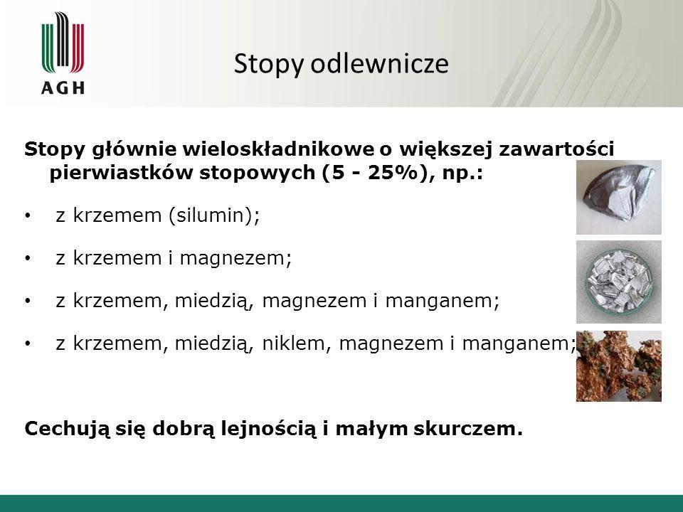 Stopy odlewnicze Stopy głównie wieloskładnikowe o większej zawartości pierwiastków stopowych (5 - 25%), np.: z krzemem (silumin); z krzemem i magnezem