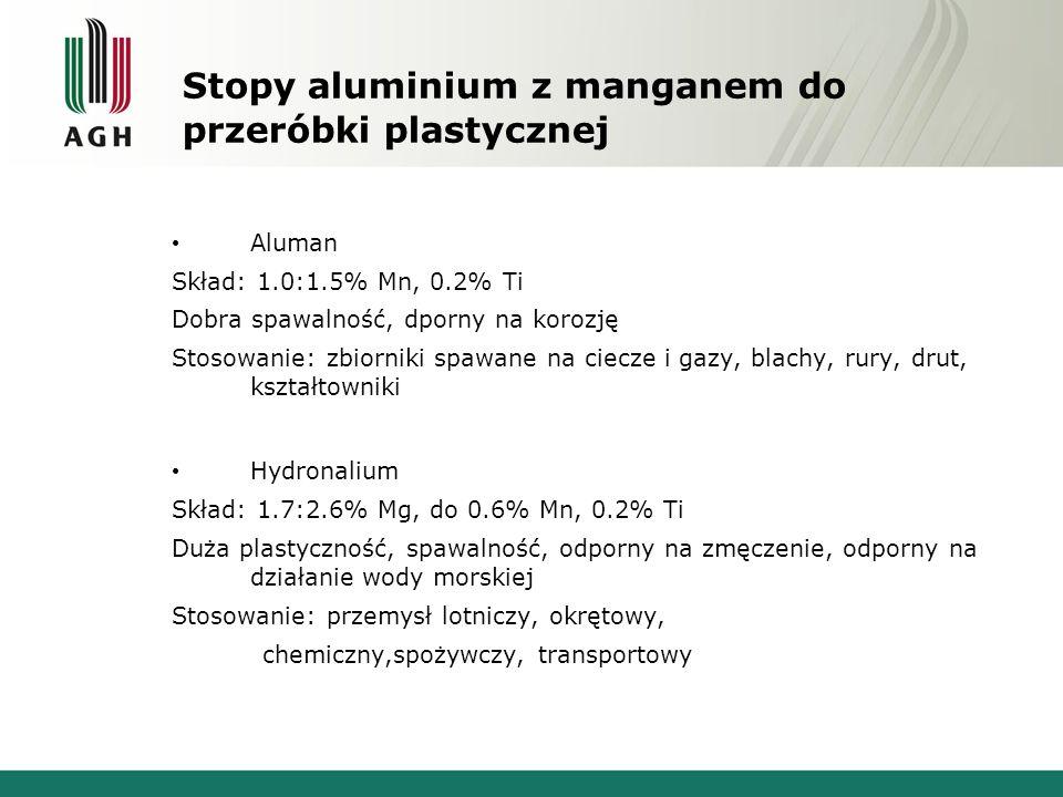 Stopy aluminium z manganem do przeróbki plastycznej Aluman Skład: 1.0:1.5% Mn, 0.2% Ti Dobra spawalność, dporny na korozję Stosowanie: zbiorniki spawa