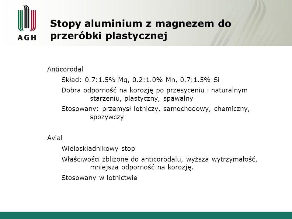 Stopy aluminium z magnezem do przeróbki plastycznej Anticorodal Skład: 0.7:1.5% Mg, 0.2:1.0% Mn, 0.7:1.5% Si Dobra odporność na korozję po przesyceniu