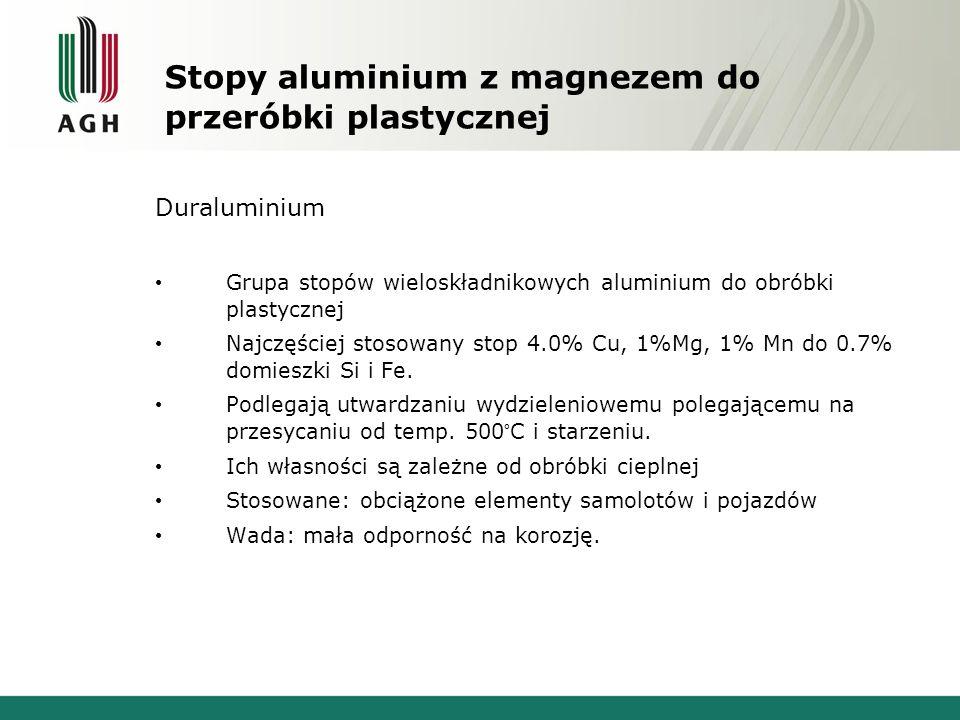 Stopy aluminium z magnezem do przeróbki plastycznej Duraluminium Grupa stopów wieloskładnikowych aluminium do obróbki plastycznej Najczęściej stosowan