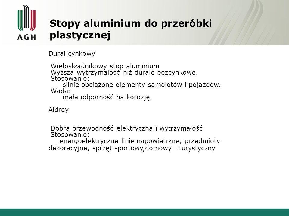Stopy aluminium do przeróbki plastycznej Dural cynkowy Wieloskładnikowy stop aluminium Wyższa wytrzymałość niż durale bezcynkowe. Stosowanie: silnie o