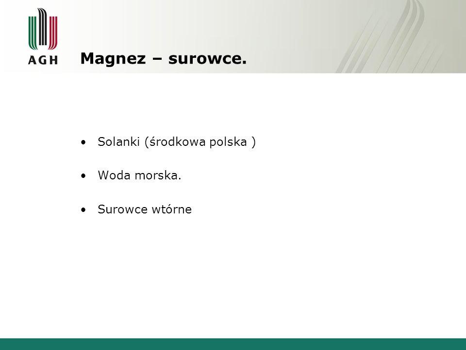 Magnez – surowce. Solanki (środkowa polska ) Woda morska. Surowce wtórne