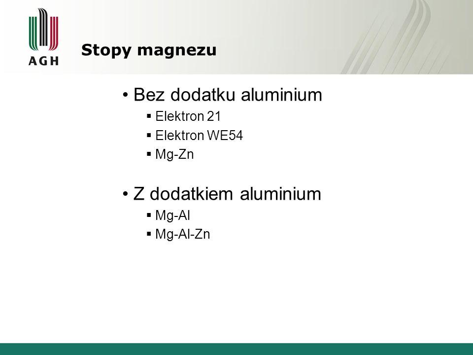 Stopy magnezu Bez dodatku aluminium Elektron 21 Elektron WE54 Mg-Zn Z dodatkiem aluminium Mg-Al Mg-Al-Zn