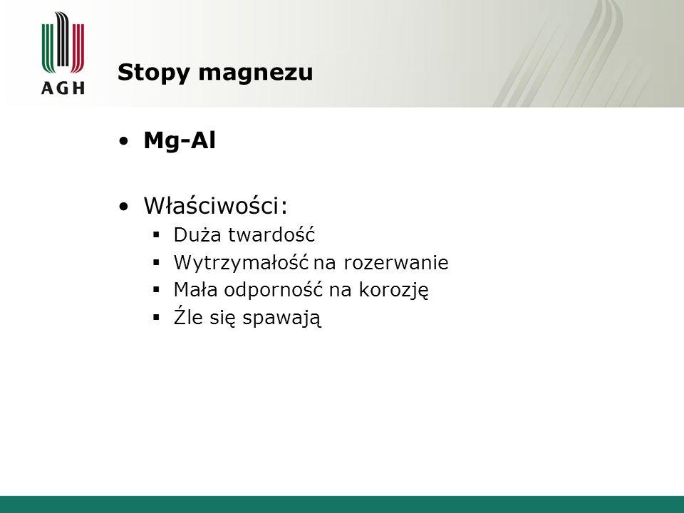 Stopy magnezu Mg-Al Właściwości: Duża twardość Wytrzymałość na rozerwanie Mała odporność na korozję Źle się spawają