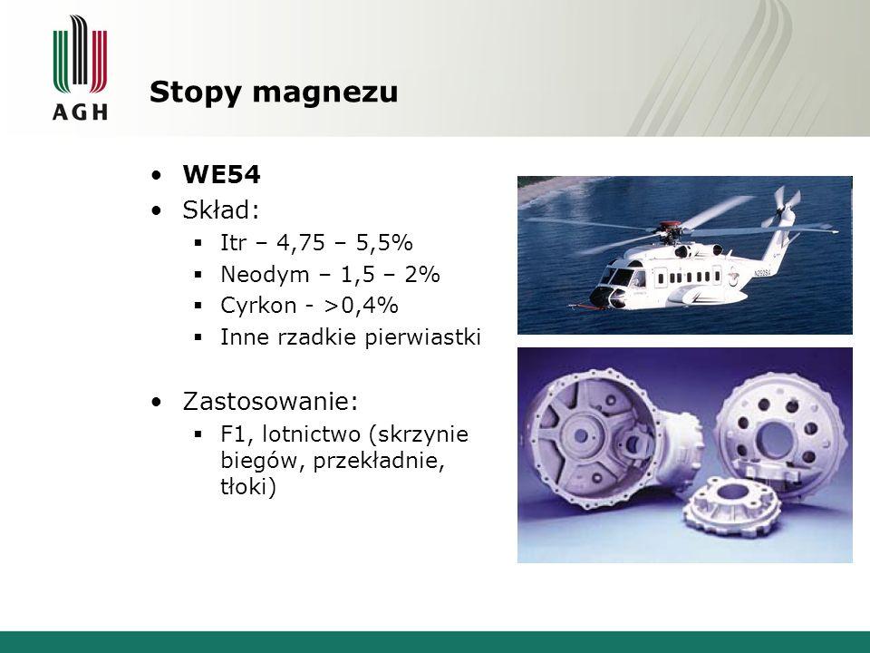 Stopy magnezu WE54 Skład: Itr – 4,75 – 5,5% Neodym – 1,5 – 2% Cyrkon - >0,4% Inne rzadkie pierwiastki Zastosowanie: F1, lotnictwo (skrzynie biegów, przekładnie, tłoki)