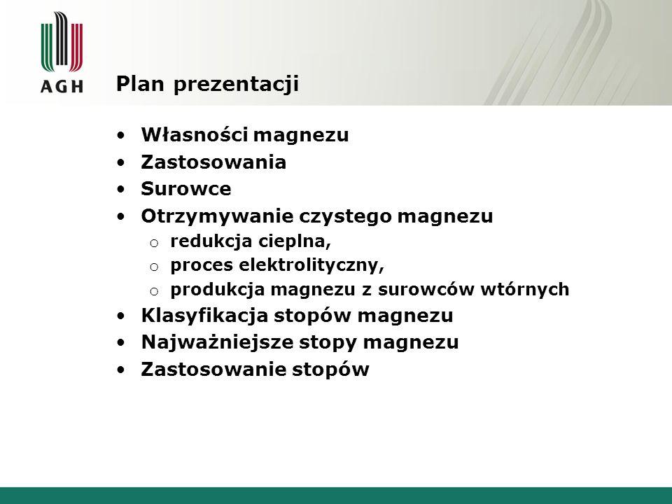 Plan prezentacji Własności magnezu Zastosowania Surowce Otrzymywanie czystego magnezu o redukcja cieplna, o proces elektrolityczny, o produkcja magnez