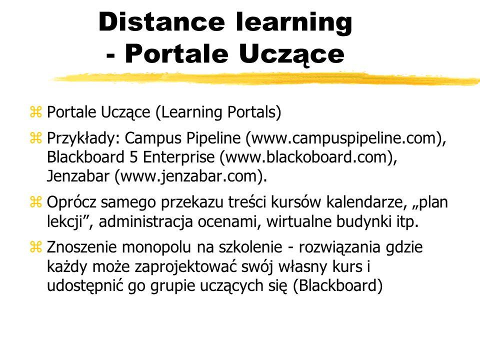 Distance learning - Portale Uczące zPortale Uczące (Learning Portals) zPrzykłady: Campus Pipeline (www.campuspipeline.com), Blackboard 5 Enterprise (w