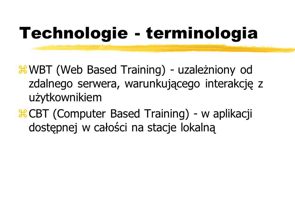 Technologie - terminologia zWBT (Web Based Training) - uzależniony od zdalnego serwera, warunkującego interakcję z użytkownikiem zCBT (Computer Based