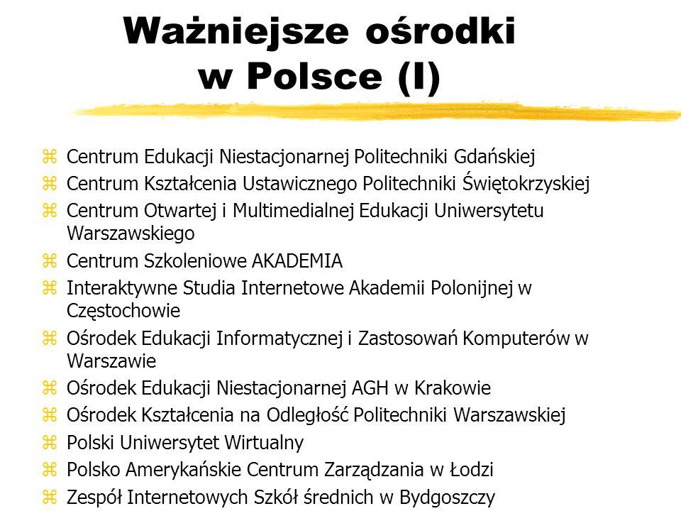 Ważniejsze ośrodki w Polsce (I) zCentrum Edukacji Niestacjonarnej Politechniki Gdańskiej zCentrum Kształcenia Ustawicznego Politechniki Świętokrzyskie