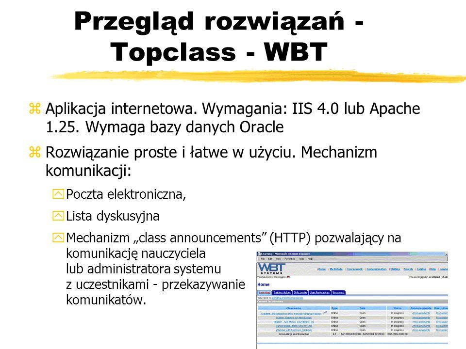 Przegląd rozwiązań - Topclass - WBT zAplikacja internetowa. Wymagania: IIS 4.0 lub Apache 1.25. Wymaga bazy danych Oracle zRozwiązanie proste i łatwe